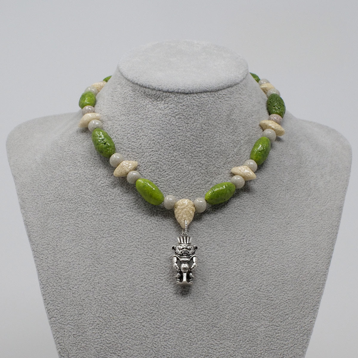 "Bes Necklace in Silver with ""Wadj Green"", ""Luxor Pearl"" & ""Wadi Sand"" Faience Beads - ""Shenu Collection"""