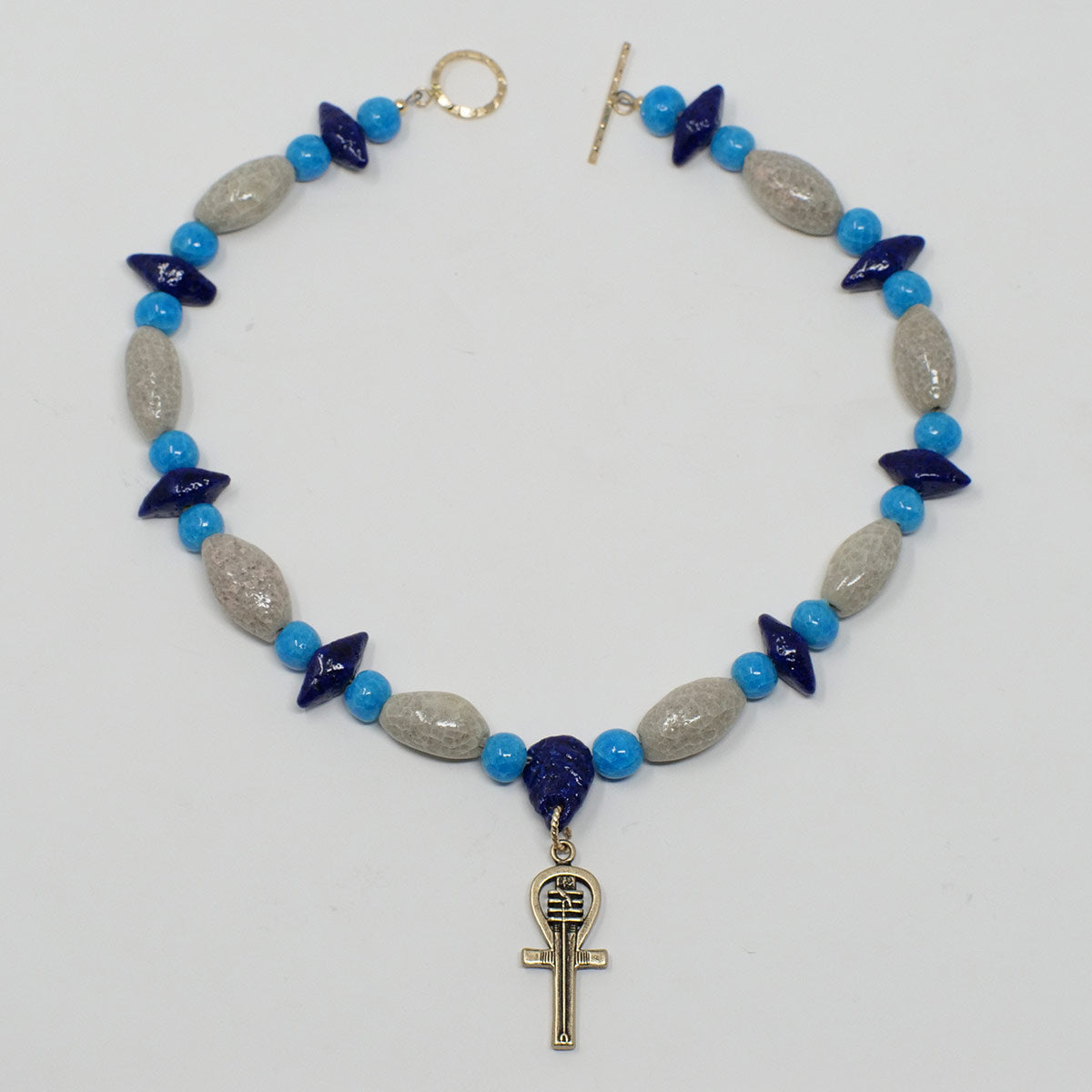 "Ankh Necklace in Gold with ""Luxor Pearl"", ""Blue Lotus"" & ""Egyptian Sky"" Faience Beads - ""Shenu Collection"""