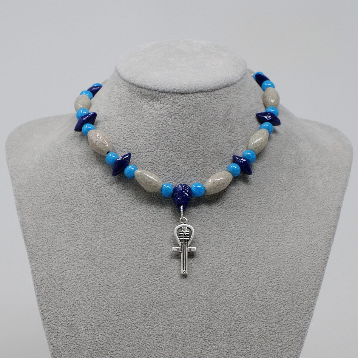 "Ankh Necklace in Silver with ""Luxor Pearl"", ""Blue Lotus"" & ""Egyptian Sky"" Faience Beads - ""Shenu Collection"""
