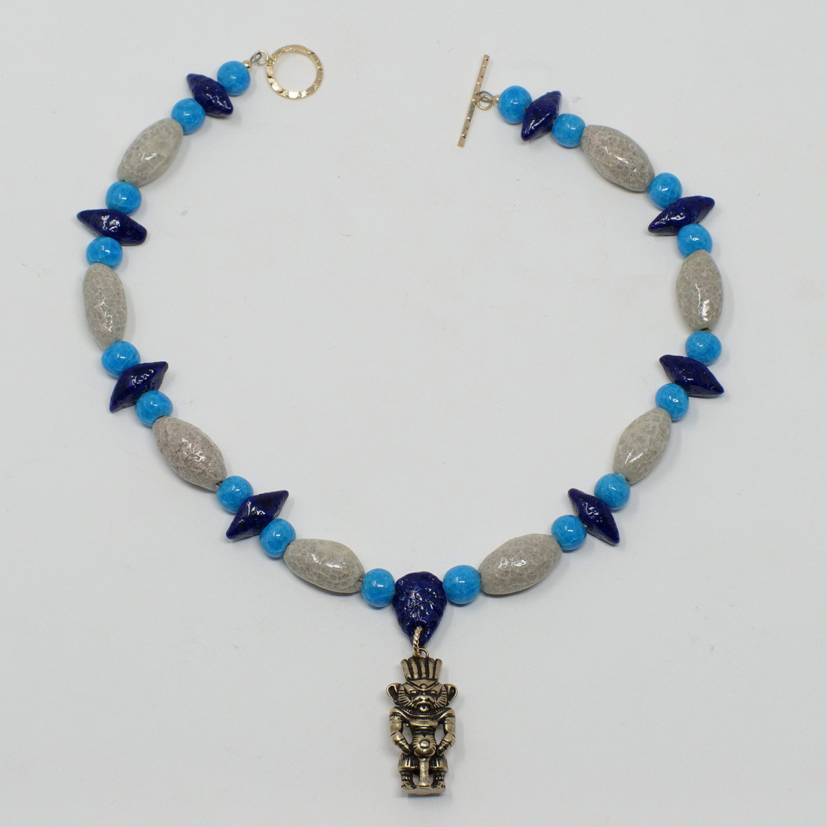 "Bes Necklace in Gold with ""Luxor Pearl"", ""Blue Lotus"" & ""Egyptian Sky"" Faience Beads - ""Shenu Collection"""