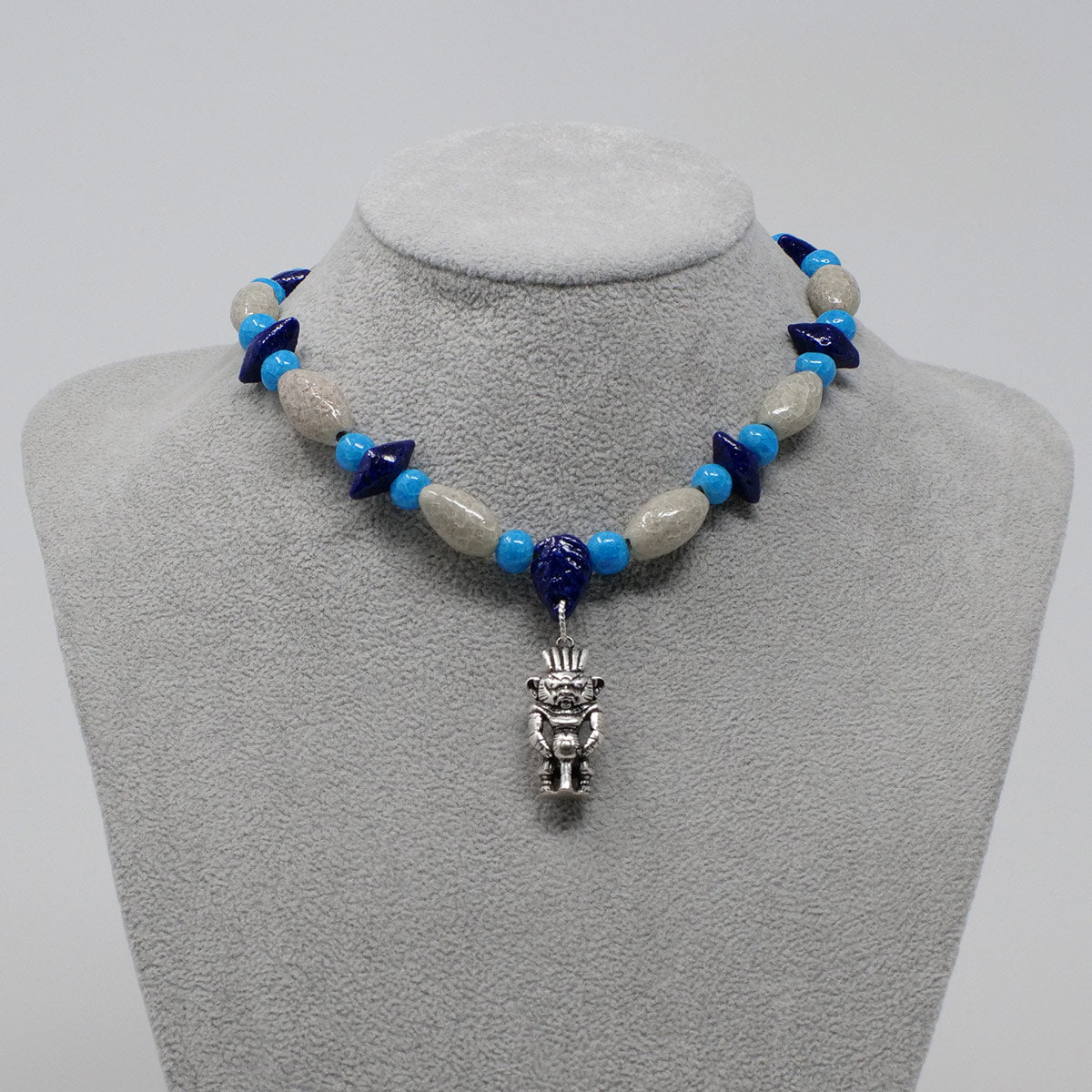 "Bes Necklace in Silver with ""Luxor Pearl"", ""Blue Lotus"" & ""Egyptian Sky"" Faience Beads - ""Shenu Collection"""