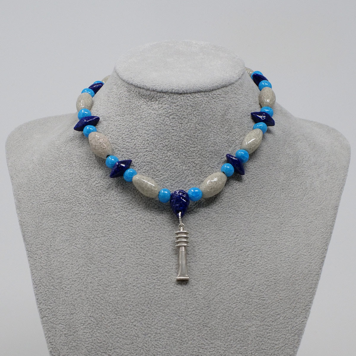 "Djed Pillar Necklace in Silver with ""Luxor Pearl"", ""Blue Lotus"" & ""Egyptian Sky"" Faience Beads - ""Shenu Collection"""