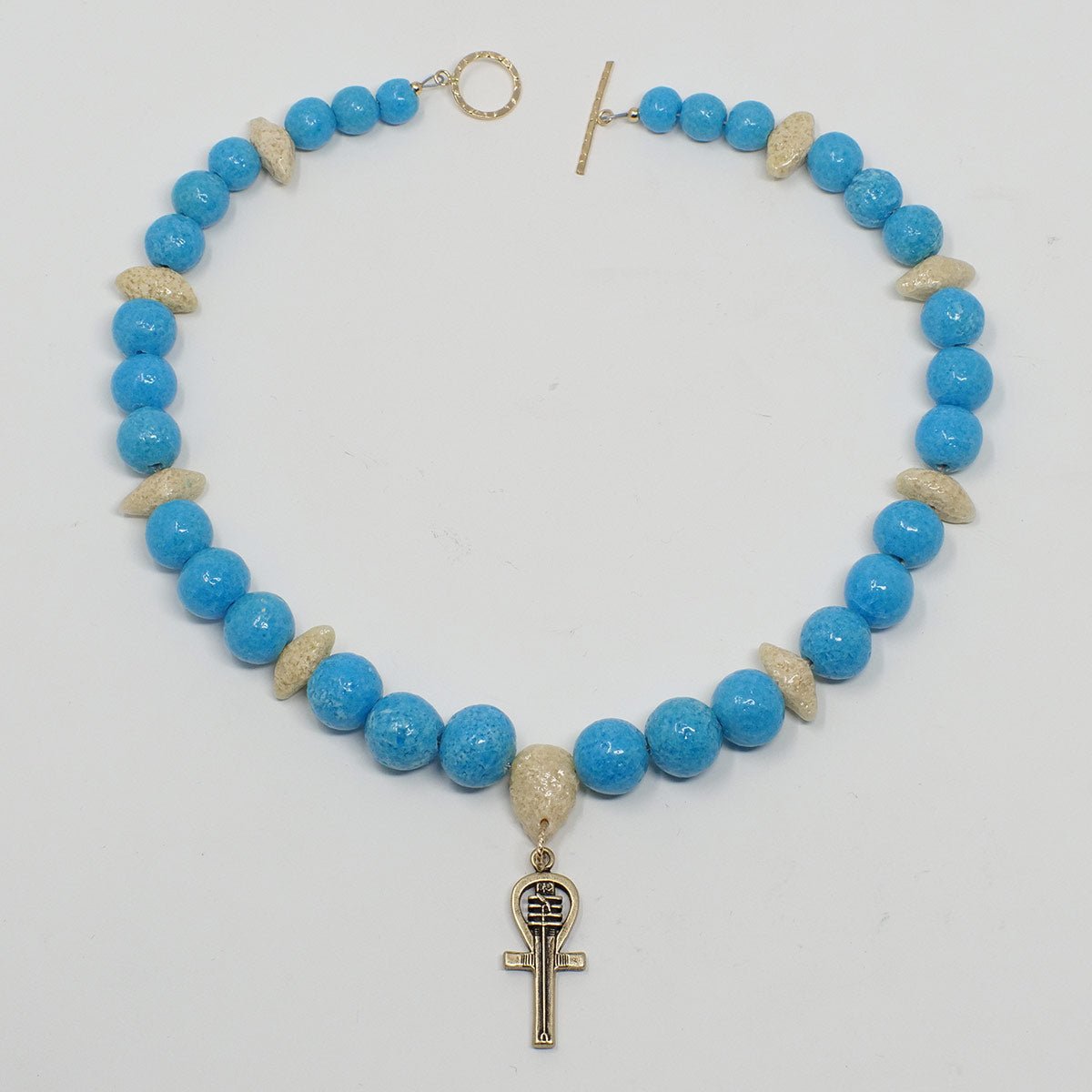 "Ankh Necklace in Gold with ""Egyptian Sky"" & ""Wadi Sand"" Faience Beads - ""Ouroborus Collection"""