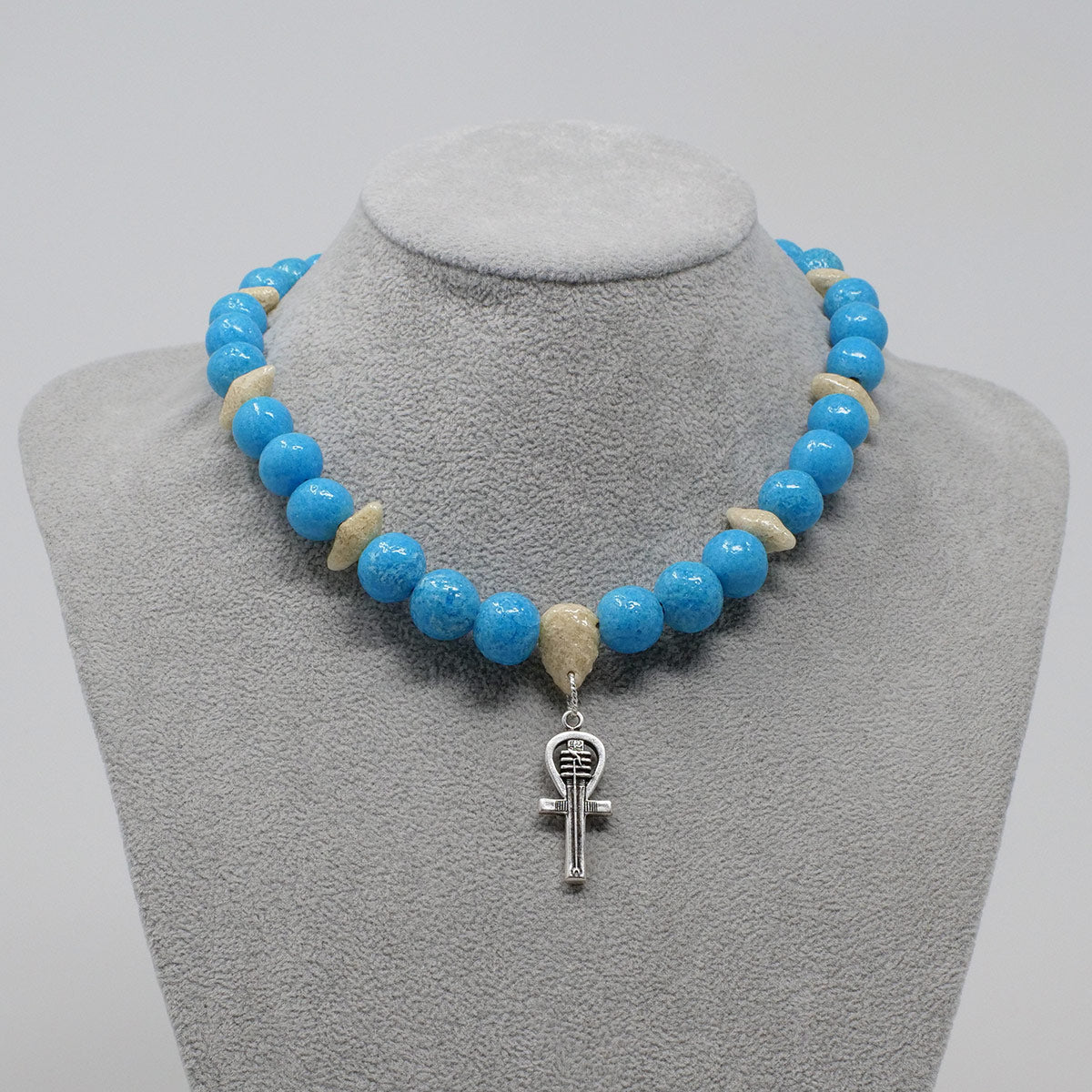"Ankh Necklace in Silver with ""Egyptian Sky"" & ""Wadi Sand"" Faience Beads - ""Ouroborus Collection"""