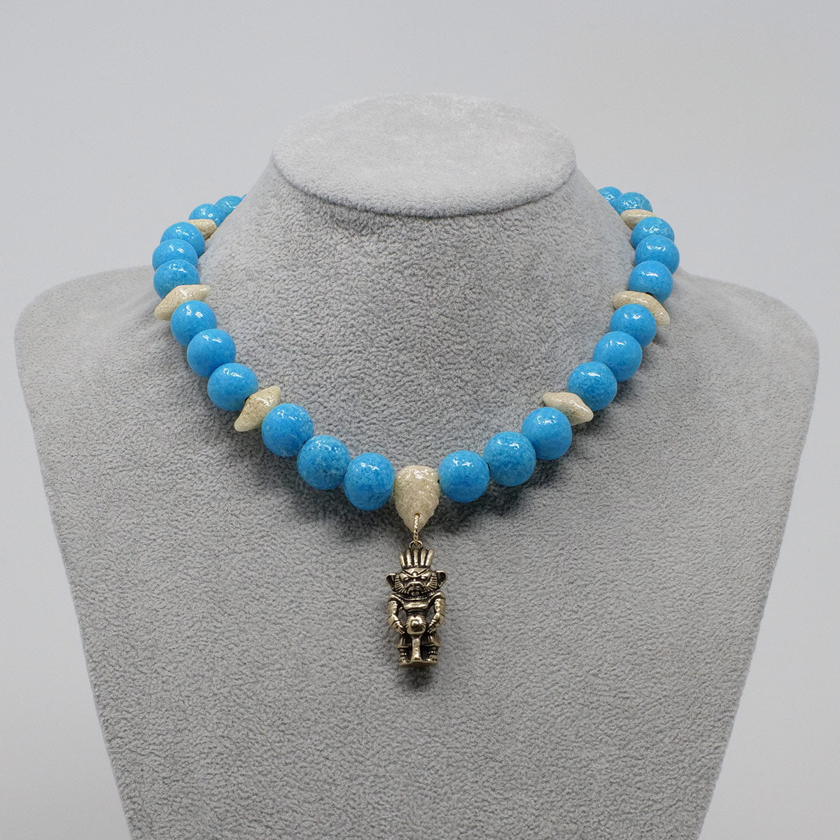 "Bes Necklace in Gold with ""Egyptian Sky"" & ""Wadi Sand"" Faience Beads - ""Ouroborus Collection"""