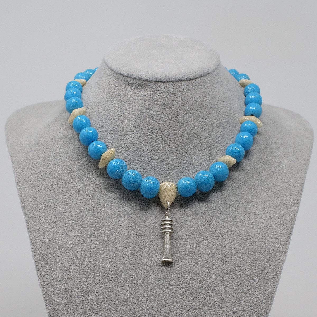 "Djed Pillar Necklace in Silver with ""Egyptian Sky"" & ""Wadi Sand"" Faience Beads - ""Ouroborus Collection"""