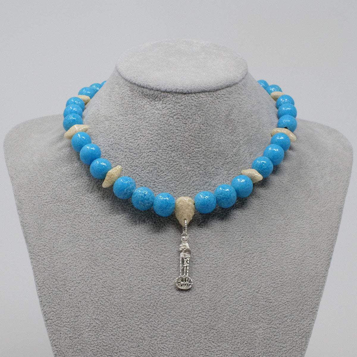 "Hathor Necklace in Silver with ""Egyptian Sky"" & ""Wadi Sand"" Faience Beads - ""Ouroborus Collection"""