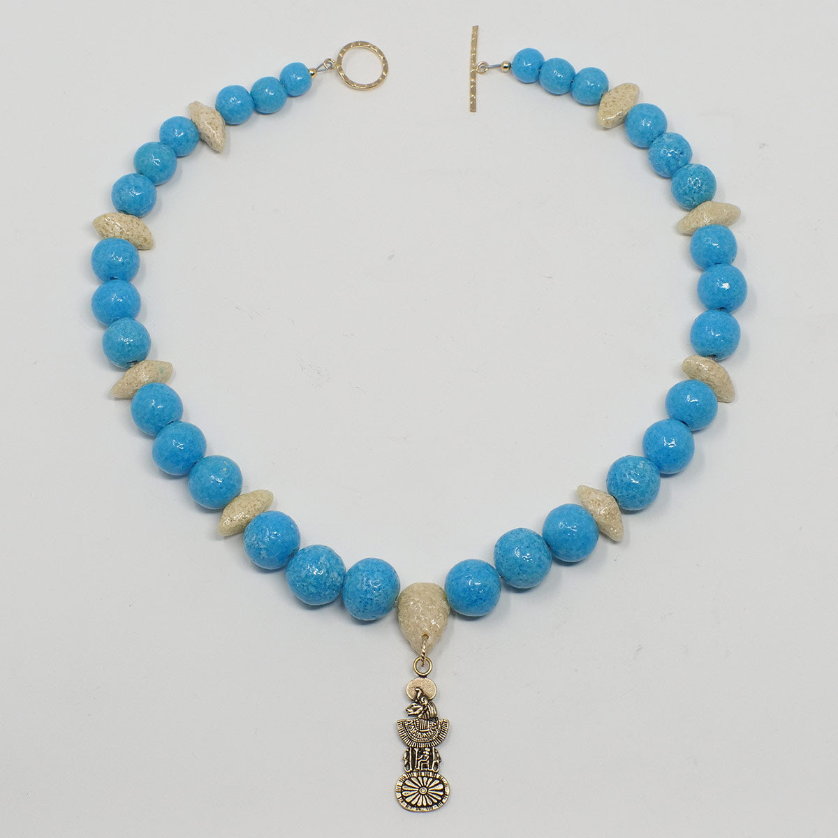 "Sekhmet Necklace in Gold with ""Egyptian Sky"" & ""Wadi Sand"" Faience Beads - ""Ouroborus Collection"""