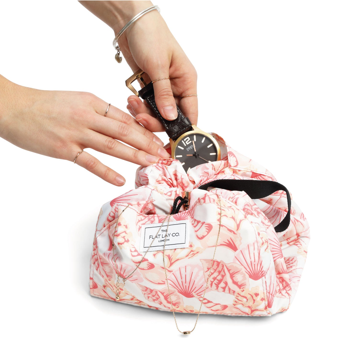Pink Shells Open Flat Makeup Bag 50cm
