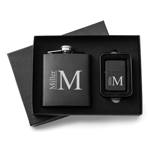 Personalized 6 oz. Matte Black Flask and Lighter Gift Set