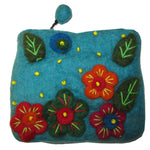 Flower Embroidered Felt Coin Purse Turquoise