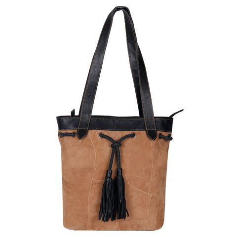 Upcycled Suede & Leather Shoulder Bag with Tassle