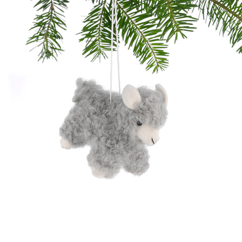 Adorable Woolly Sheep Ornament - Grey