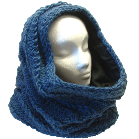 Thick Fleece Lined Mobius Scarf/Hoodie Teal