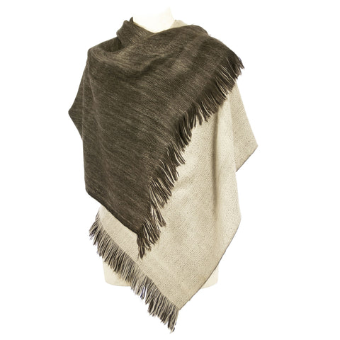 Hand-loomed Alpaca Wrap or Cape - Cafe Brown Tan