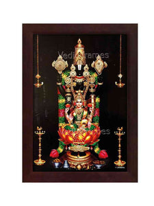 Lakshmi Venkateswara with multicolour garland and hanging deepam in dark background