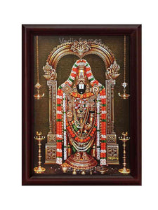 Lord Venkateshwara with flower garland and sara vilakku