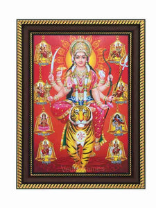 Goddess Durga on tiger in red background