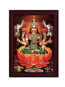 Goddess Lakshmi on brown lotus with gold coins