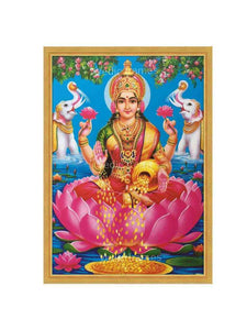 Goddess Lakshmi on lotus in lake background