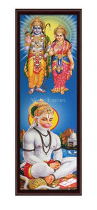 Lord Rama and Seetha blessing Hanuman Vertical