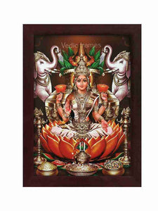 Goddess Lakshmi with Kalasam, vilakku and elephants on either side (Orange vasthram)