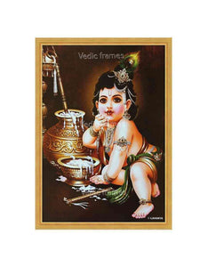 Little Krishna eating butter from pot in brown background