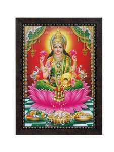 Goddess Lakshmi with halo in red pillared background
