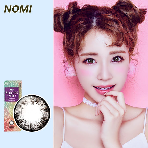 Korea NOMI mixed blood size diameter disposable yearly color contact lenses Blooms4U Ice Flower Black