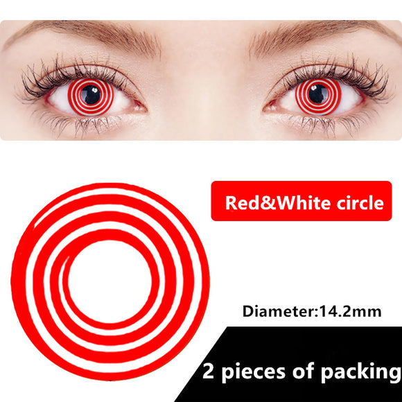 Halloween & cosplay Yearly Color Contacts Red&white circle (2pcs/box)