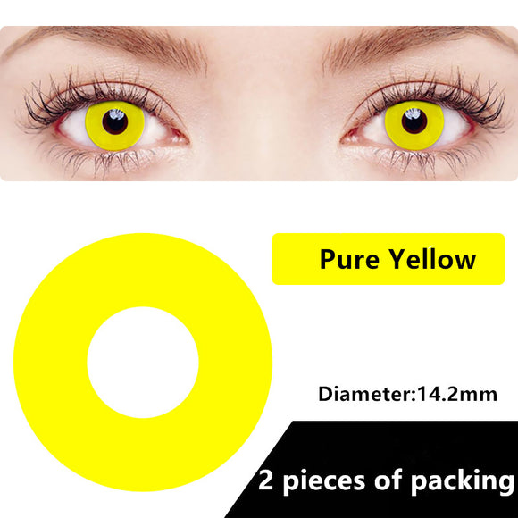 Halloween & cosplay Yearly Color Contacts Pure Yellow (2pcs/box)
