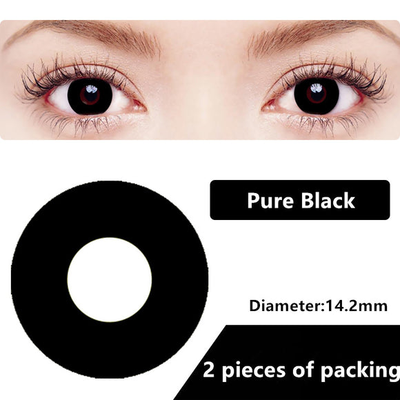 Halloween & cosplay Yearly Color Contacts Pure Black (2pcs/box)