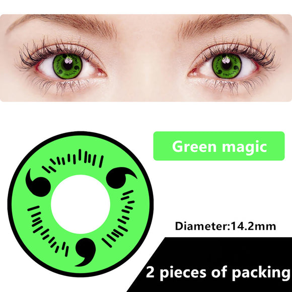 Halloween & cosplay Yearly Color Contacts Green magic (2pcs/box)