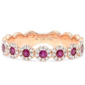Rose Gold Diamond & Ruby Flower Band