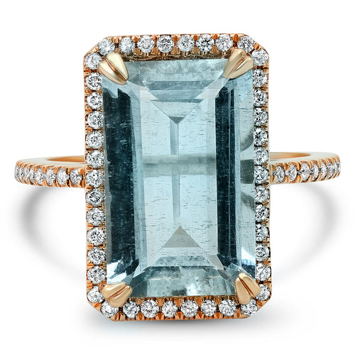 One of A Kind Aquamarine with Diamond Halo Ring