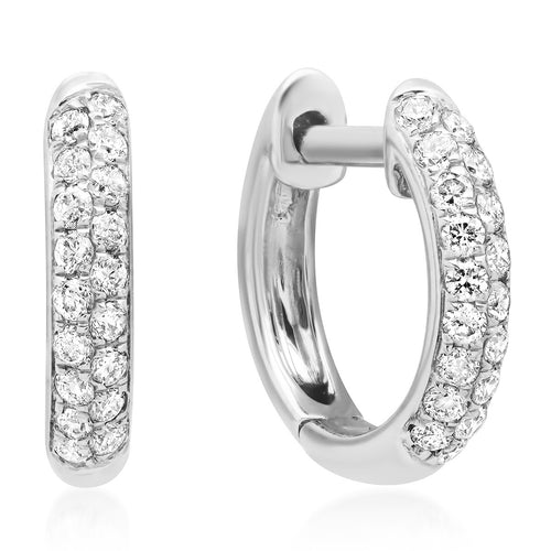 Chubby Double Row Diamond Huggie Hoop Earrings