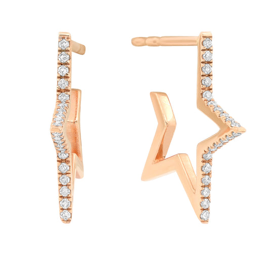 Diamond Star Hoop Earrings
