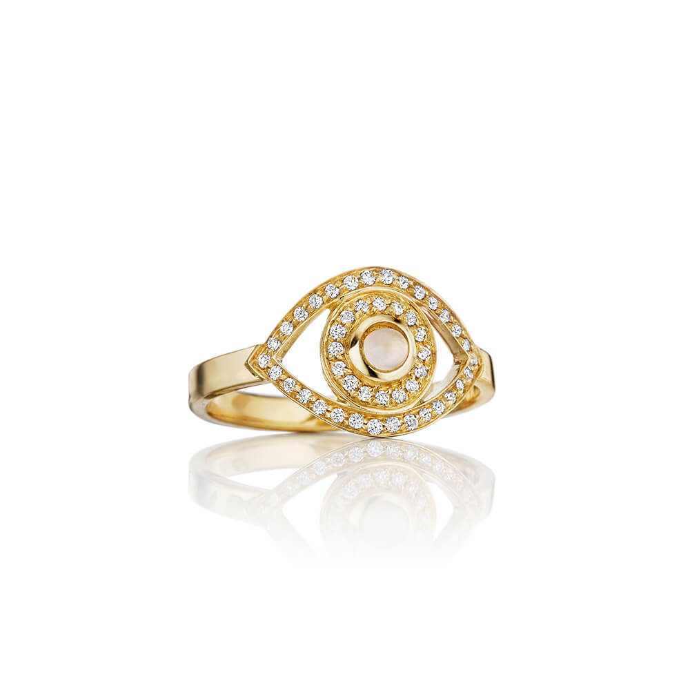 netali nissim yellow gold petite diamond evil eye ring