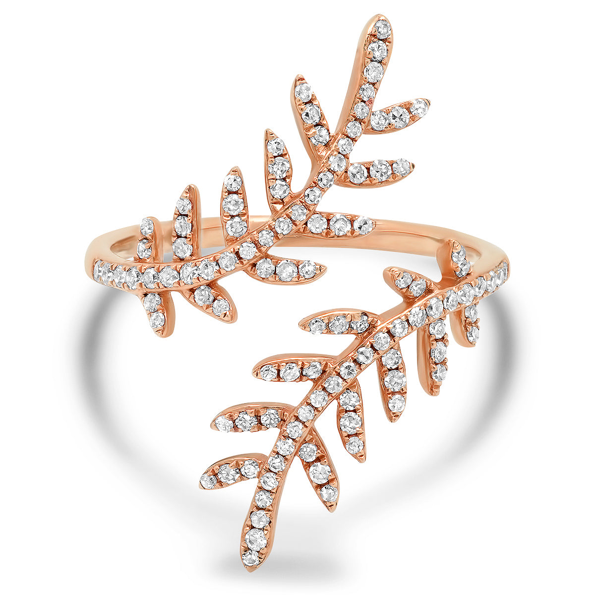 Diamond Floral Vine Bypass Ring