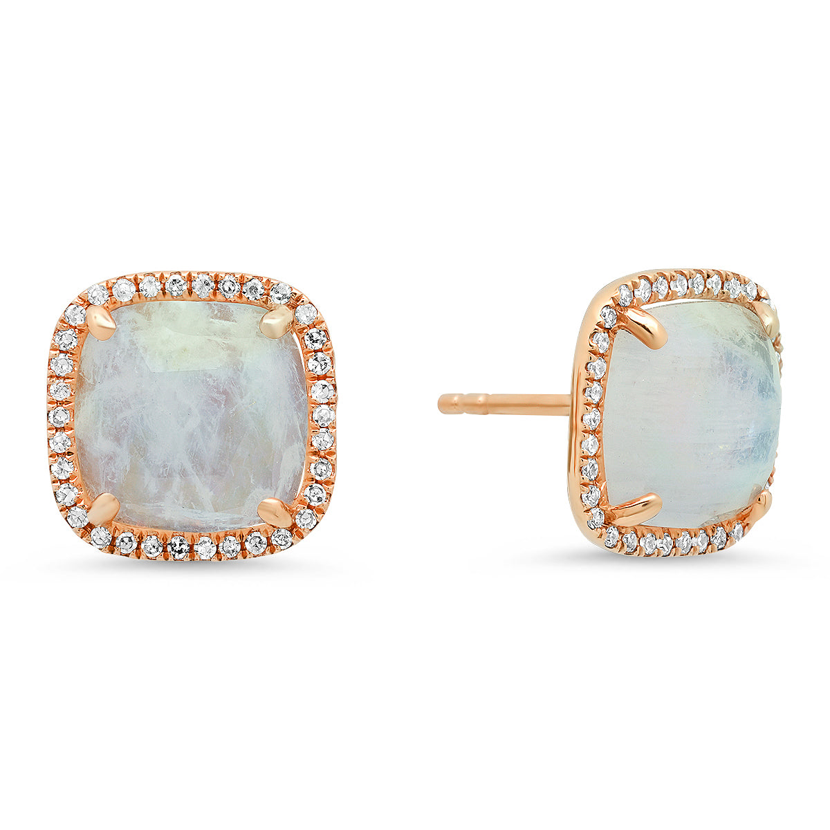 Cushion Cut Moonstone Stud Earrings With Diamond Halo