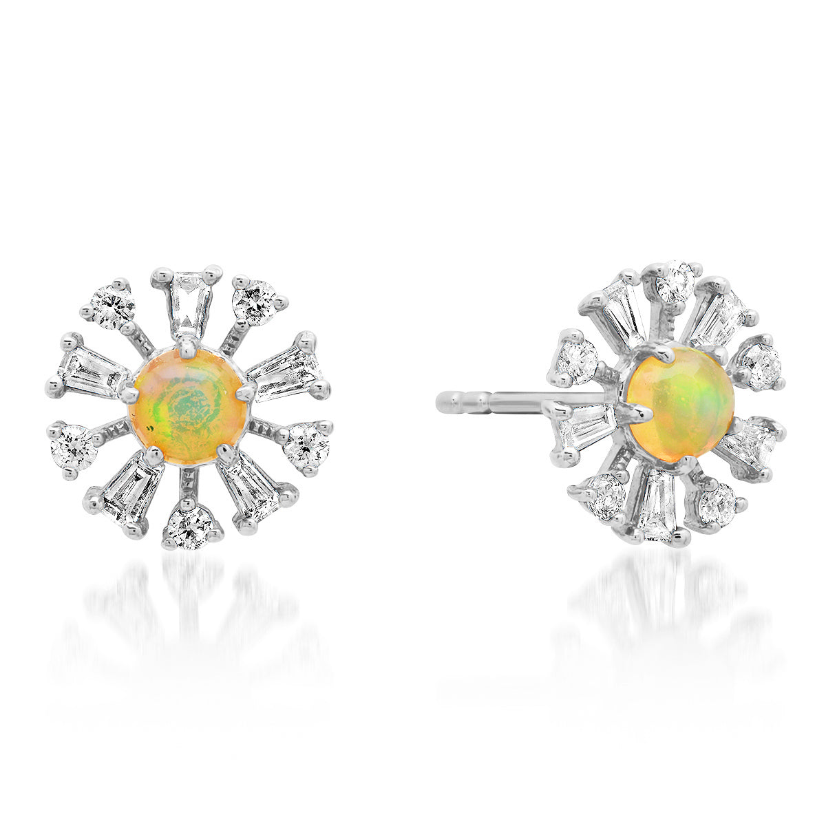 Diamond Baguette & Opal Daisy Flower Stud Earrings