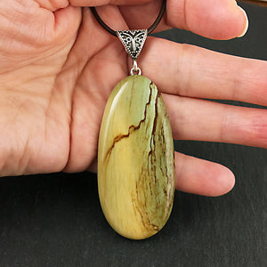 Imperial jasper and sterling silver pendant
