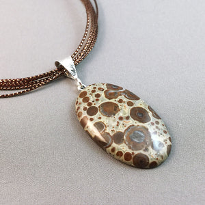 Asteroid jasper and sterling silver pendant