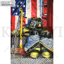 "5D DIY Diamond Painting ""Fire Fighter & US Flag"""