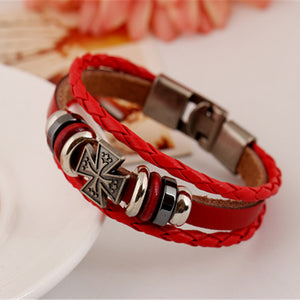 Red Faux Leather Wristband