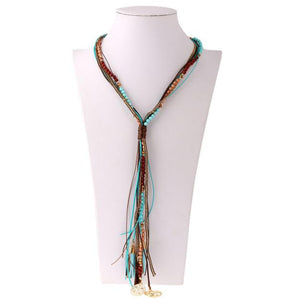 Crystal Seed Bead Long Tassel Bohemia Necklace