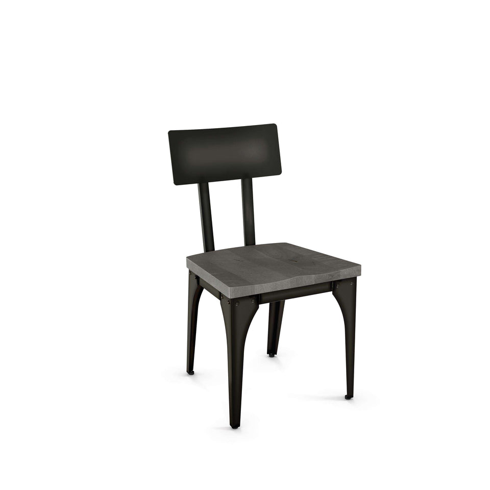 Architect Dining Chair with Distressed Solid Wood Seat and Metal Backrest