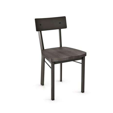 Lauren Dining Chair with Distressed Solid Wood Seat and Metal Backrest by Amisco