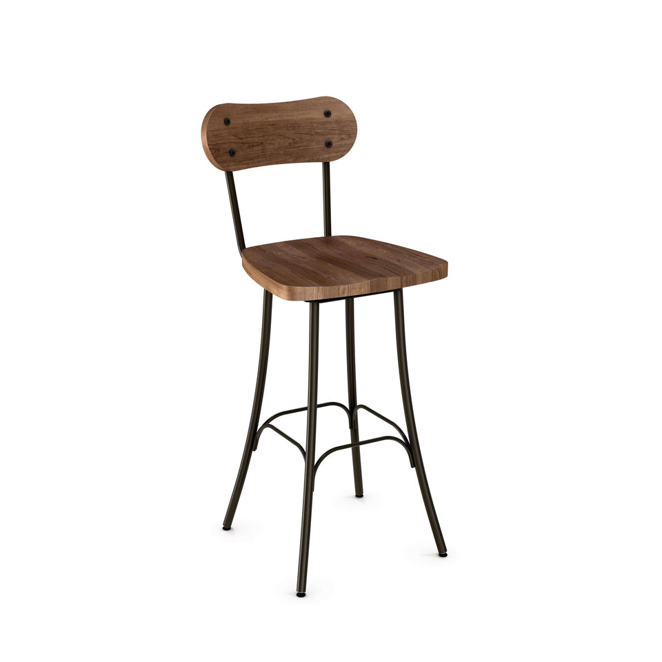Bean Swivel Counter Stool with Distressed Solid Wood Seat and Backrest by Amisco