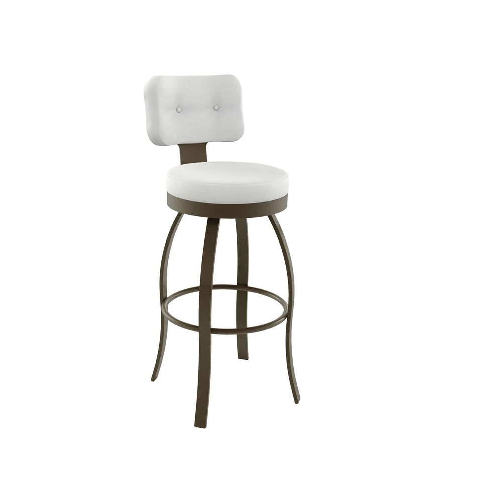 Swan Swivel Counter Stool with Upholstered Seat and Backrest